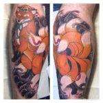 和彫り九尾狐タトゥー