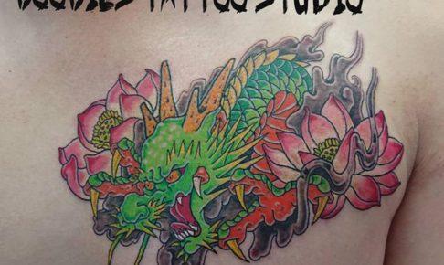 龍と蓮の和彫り