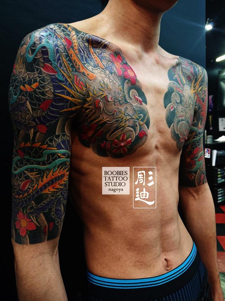 胸割り龍と桜の和彫りフルカラー