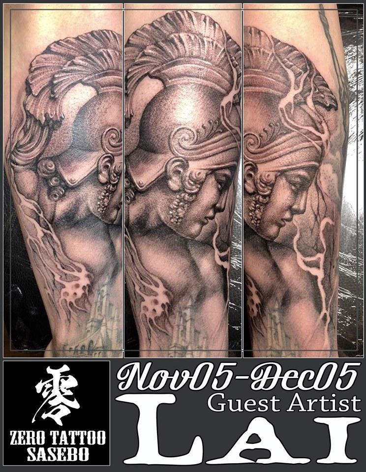 戦士や女神のポートレートタトゥー