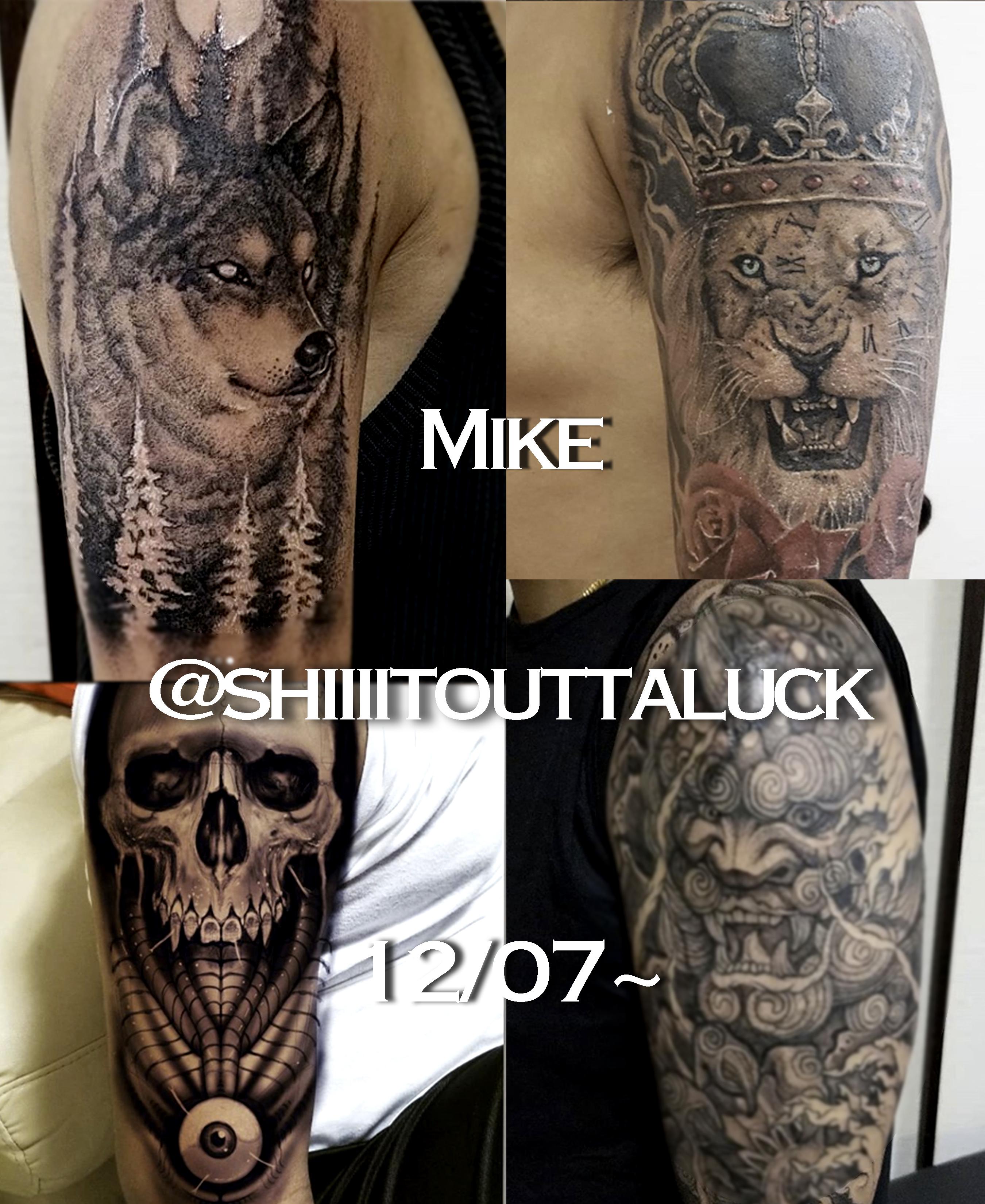 狼ライオン髑髏鬼のブラック&グレイTattoo