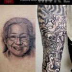 ポートレートタトゥーと虎の和彫り